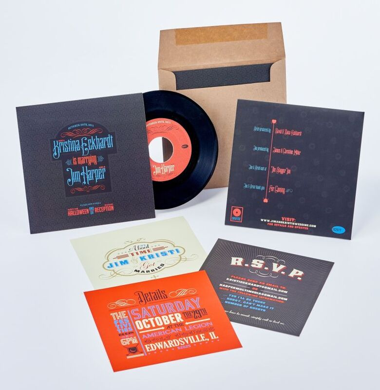 Sneller Creative Promotions - Retro Vinyl Record Wedding Invitation